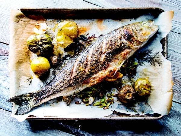 Pacifico-whole cooked striped bass