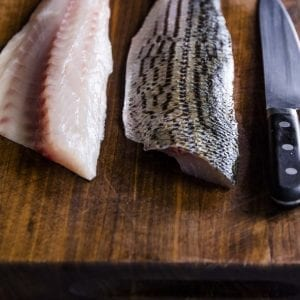 Striped Bass FIllets with chefs knife