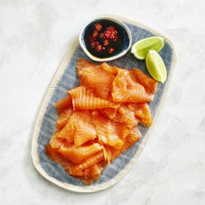 Petuna smoked OceanTrout Sliced on plate
