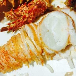 Lobster tail sliced