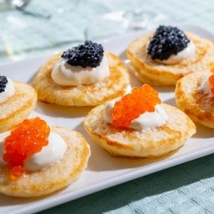 red and black caviar with creme fraiche